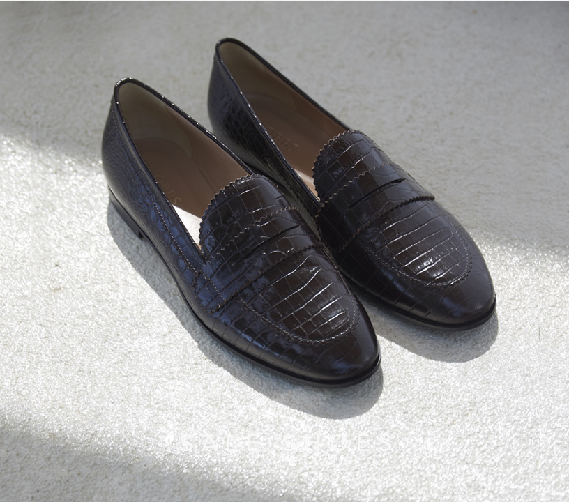 Brown Croc Leather Loafers