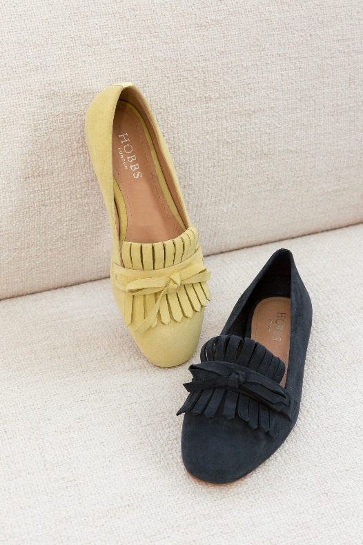 Yellow and Navy Suede Loafers