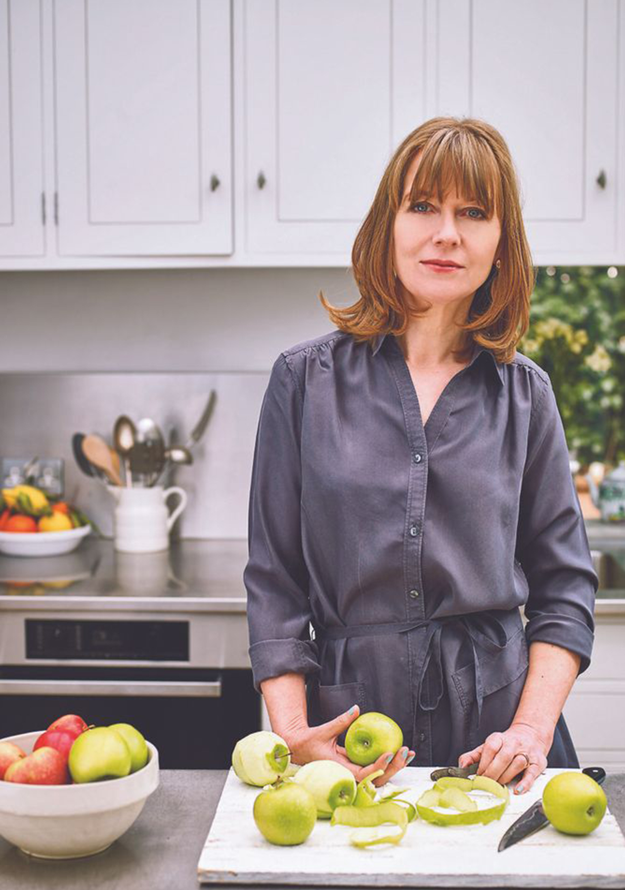 Cookery writer Annie Bell, photographed at home wearing the Hobbs xxxxx.
