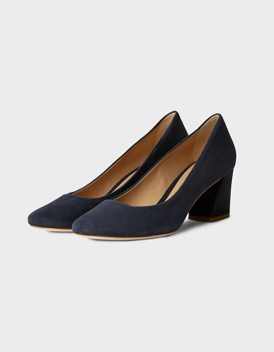 Hobbs classic black court shoe. Wear your block heel court shoes to work or to the races.