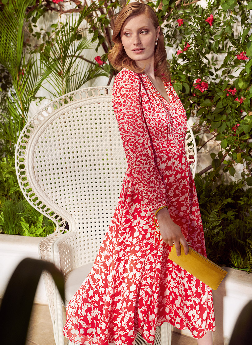 White and Red Floral Print Dress with Yellow Wristlet Bag