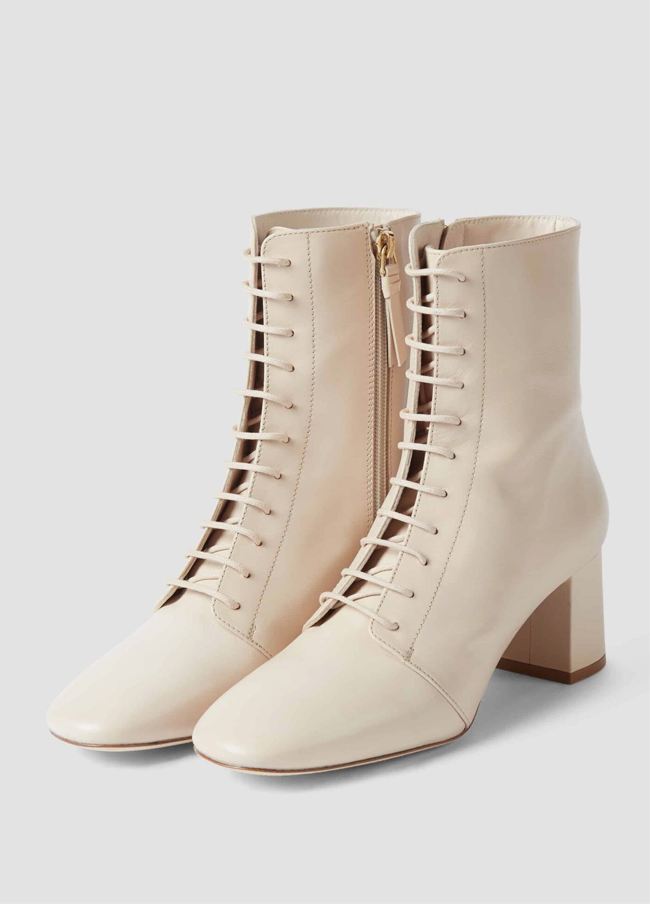 Women's leather lace up boots in off white from Hobbs.