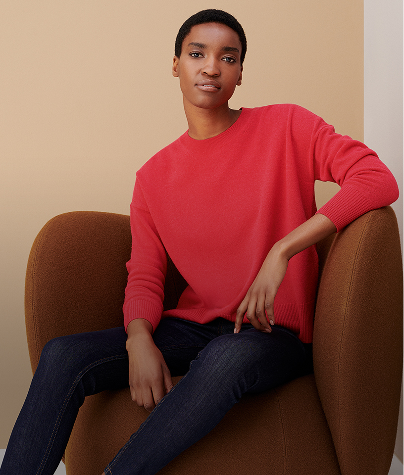 Camel Sweater on Red Trousers