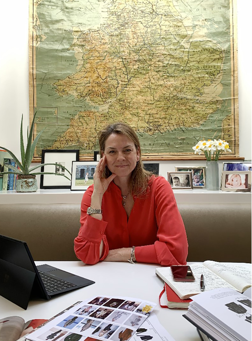 Hobbs Product Director Sally Ambrose pictured working from home.