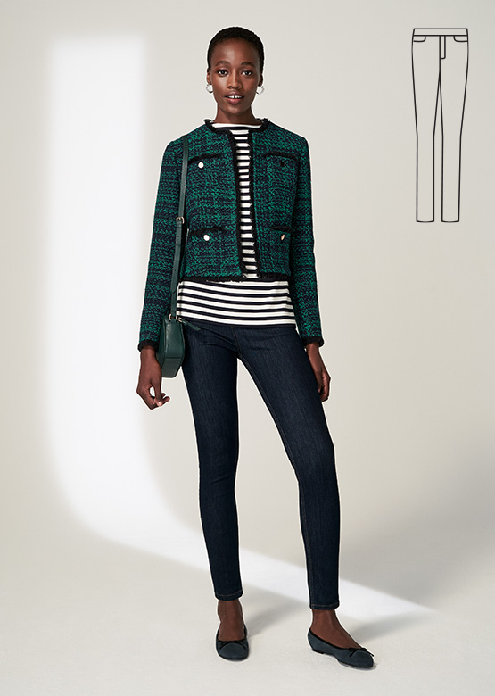 Model wears Hobbs Rosa tweed jacket with Gia sculpting jeans.
