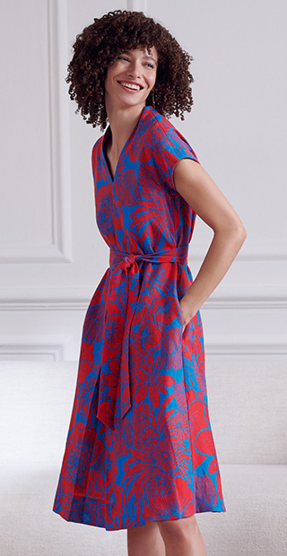 Red and Blue Floral Print Linen Dress