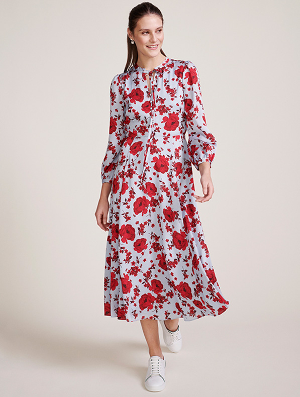 Blue and Red Floral Dress