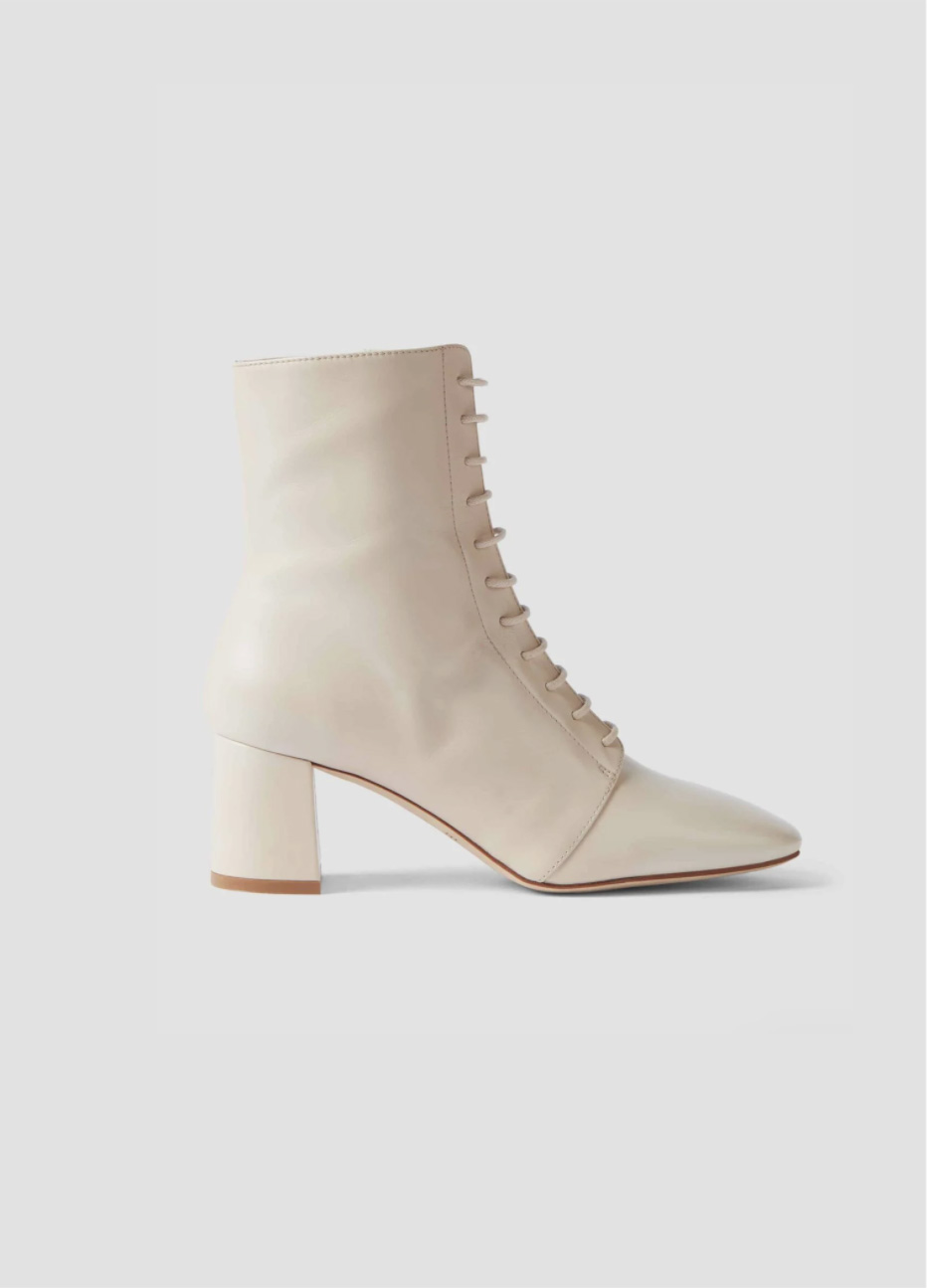 Women's leather mid-heeled lace up boot in white from Hobbs.
