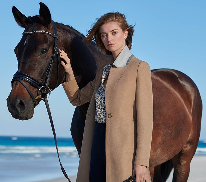 Camel Spring Coat and Horse