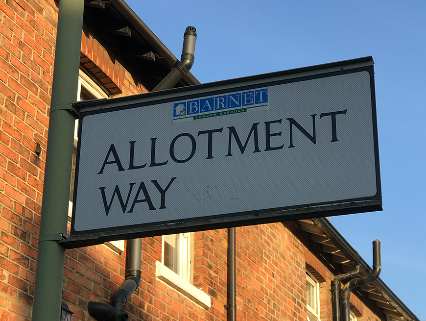 The street signage for Rosarie's allotment