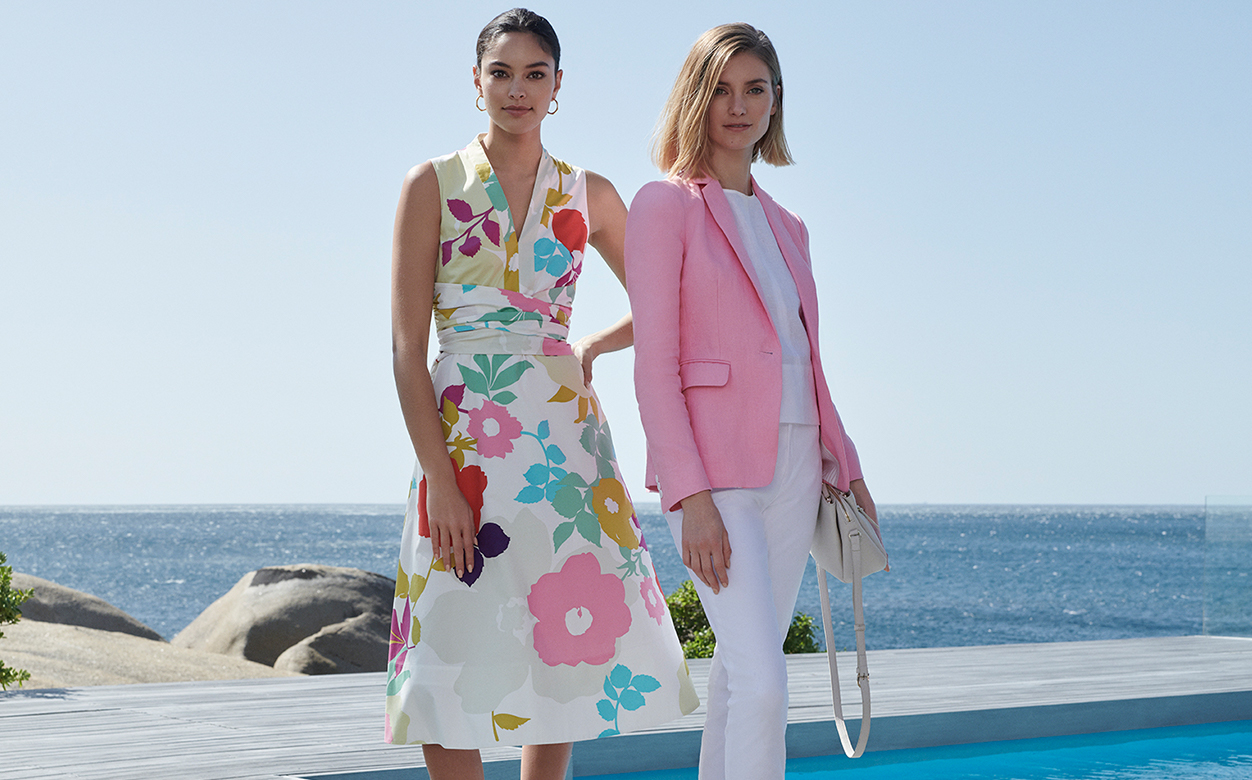 Floral Summer Dress and Pink Linen Jacket in White Trousers