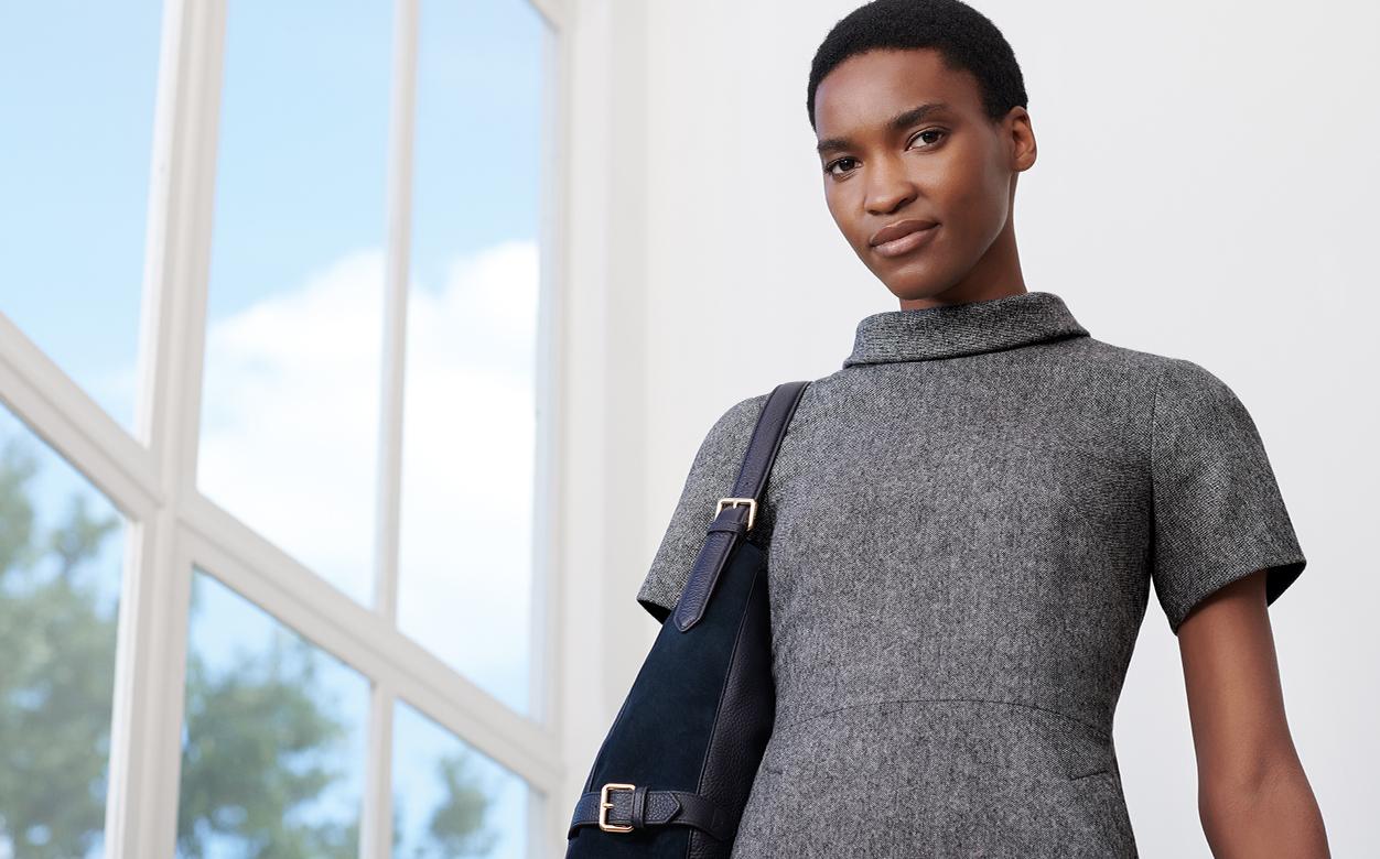 Grey Short Sleeve Workwear Dress