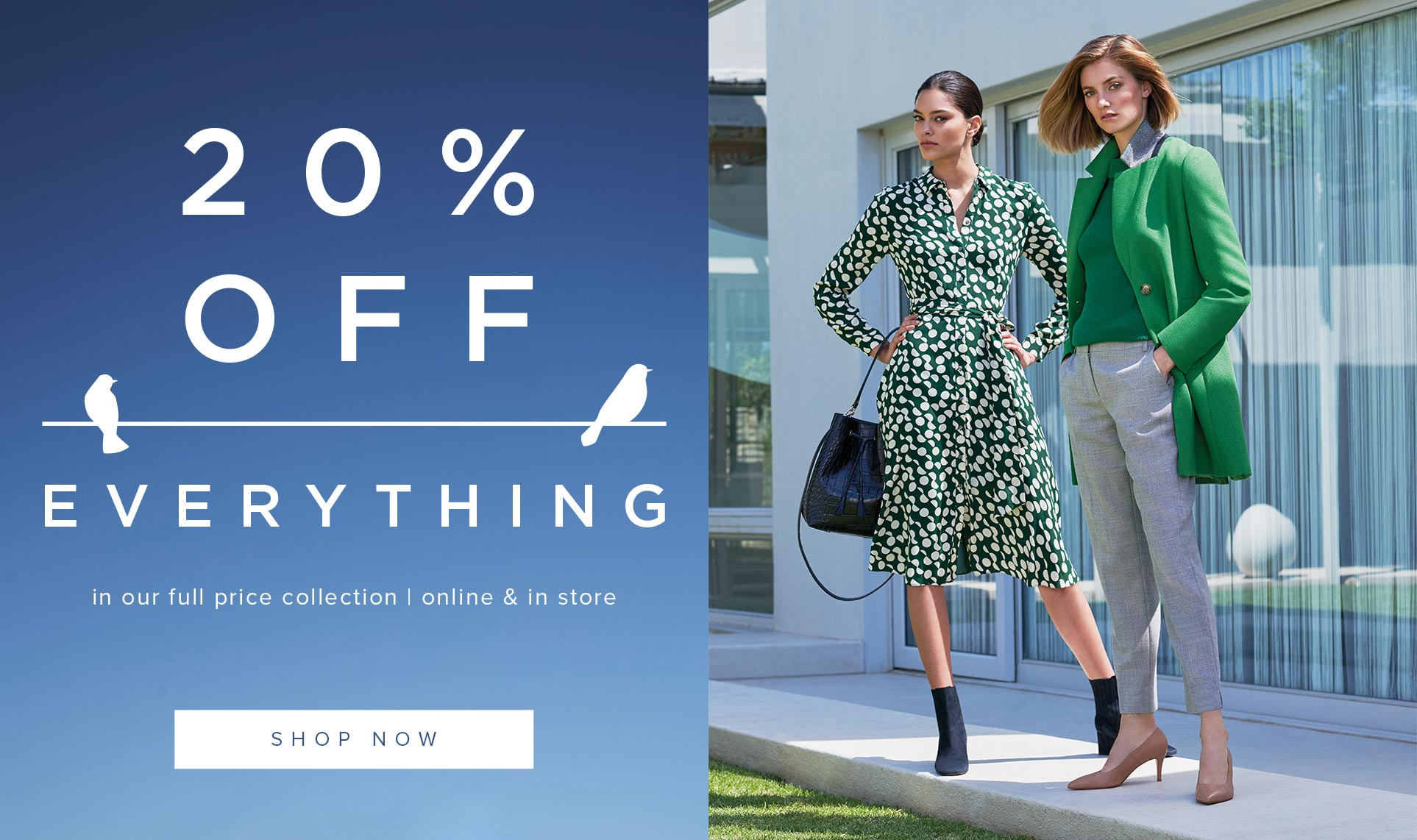 Hobbs Printed Green Dress and Workwear Green Coat and Grey Trousers