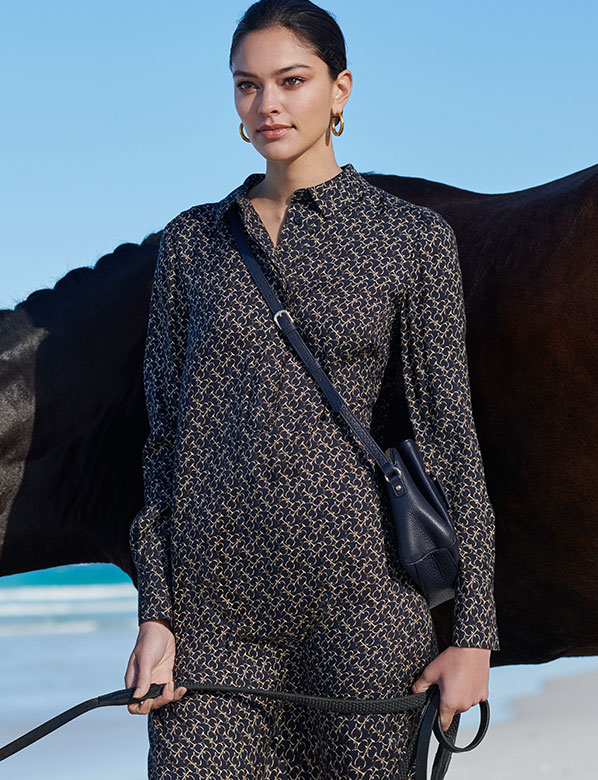 Snaffle Print Dress and Horse on the Beach