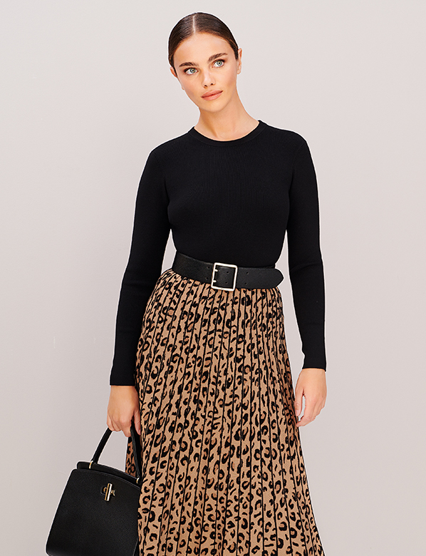 Hobbs Leopard Skirt Knitted Dress