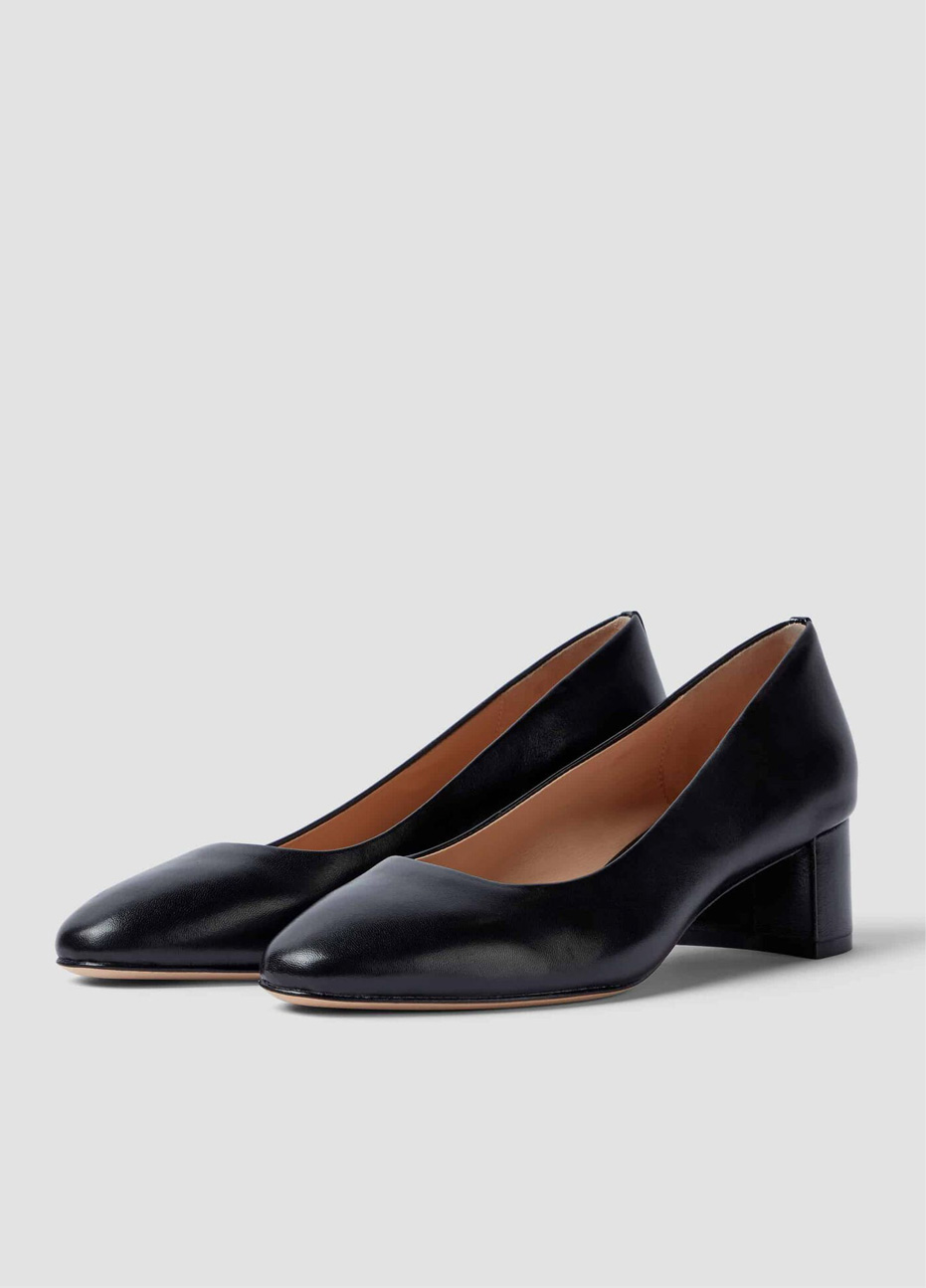 Hobbs leather block heel court shoes in black.