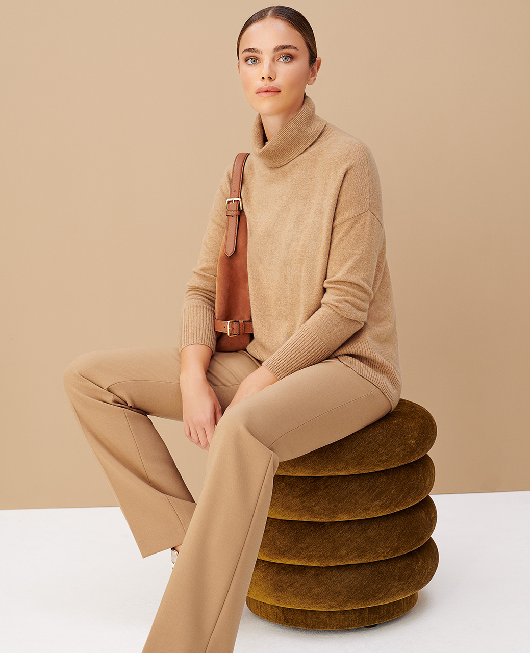 Camel Matching Cashmere Outfit