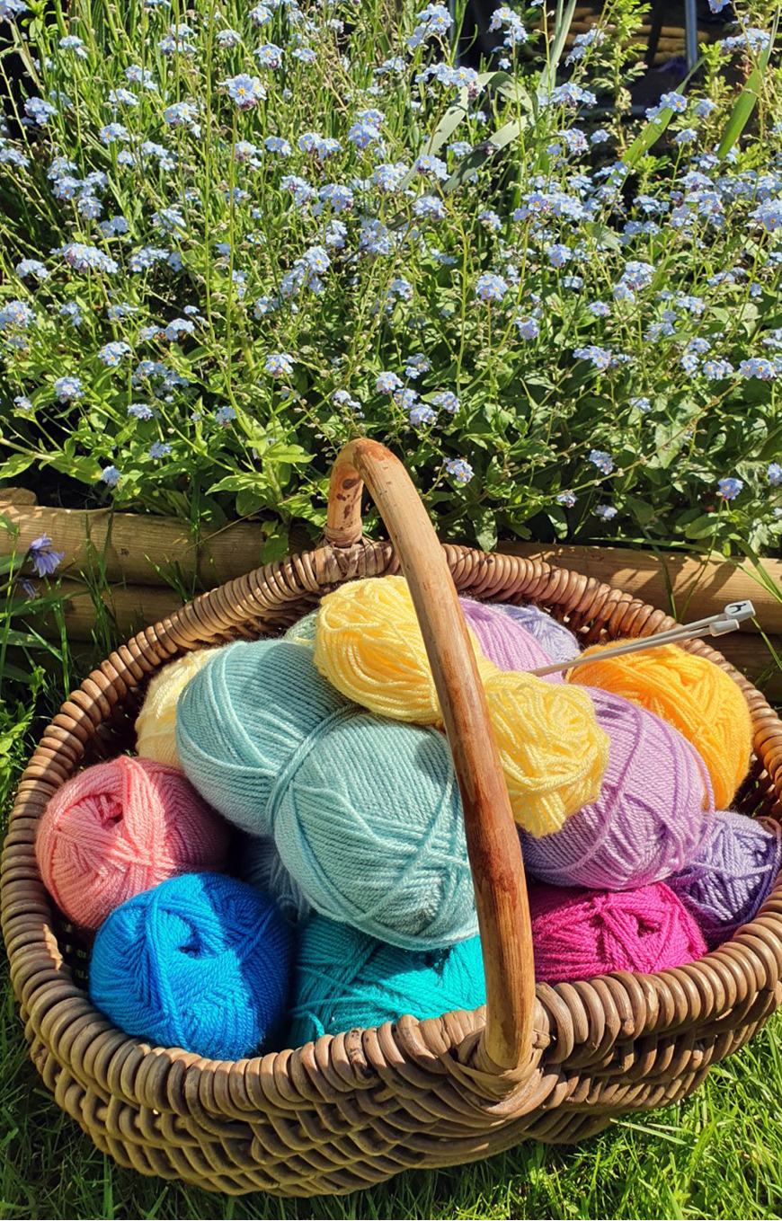 Nicole's colourful crochet wool collection is stored artfully in a basket