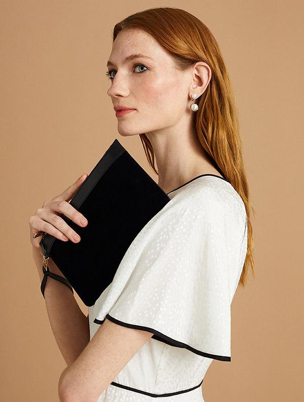 Ivory Dress with Black Details and Black Wristlet