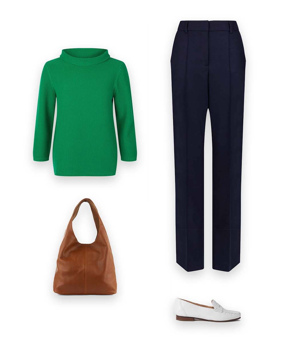 Laidback style is easy with  a pair of navy tailored trousers, a knit, the perfect loafers and a great classic brown bag