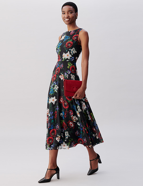 Navy Petite Carly Floral Dress with Bag