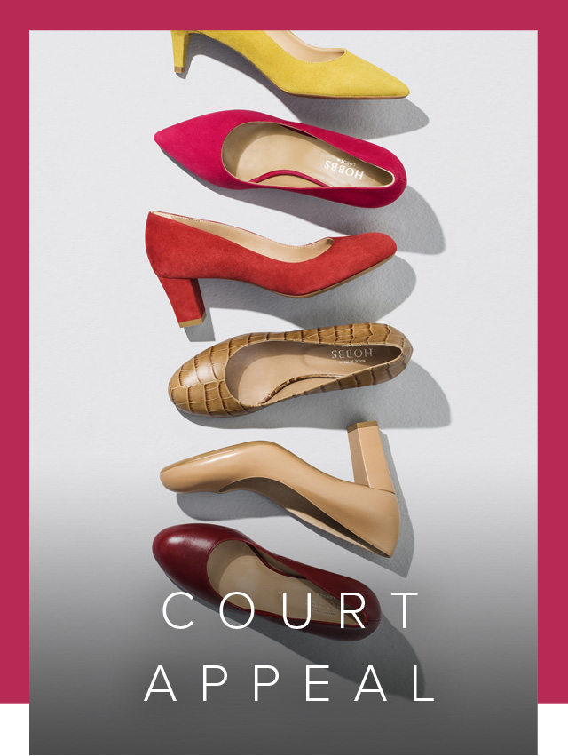 Hobbs court shoe collection. Available in wear-to-work friendly colours such as nude, navy and black.