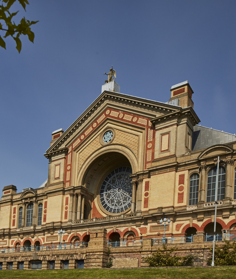 The iconic frontage of london's alexandra palace