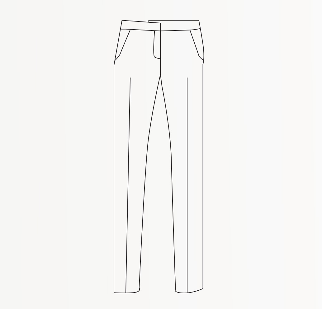 Drawing of Slim fit Women's trousers.