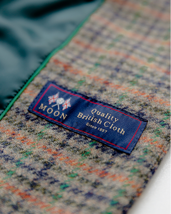 Close up image of Abraham Moon's British made sustainable fabric.