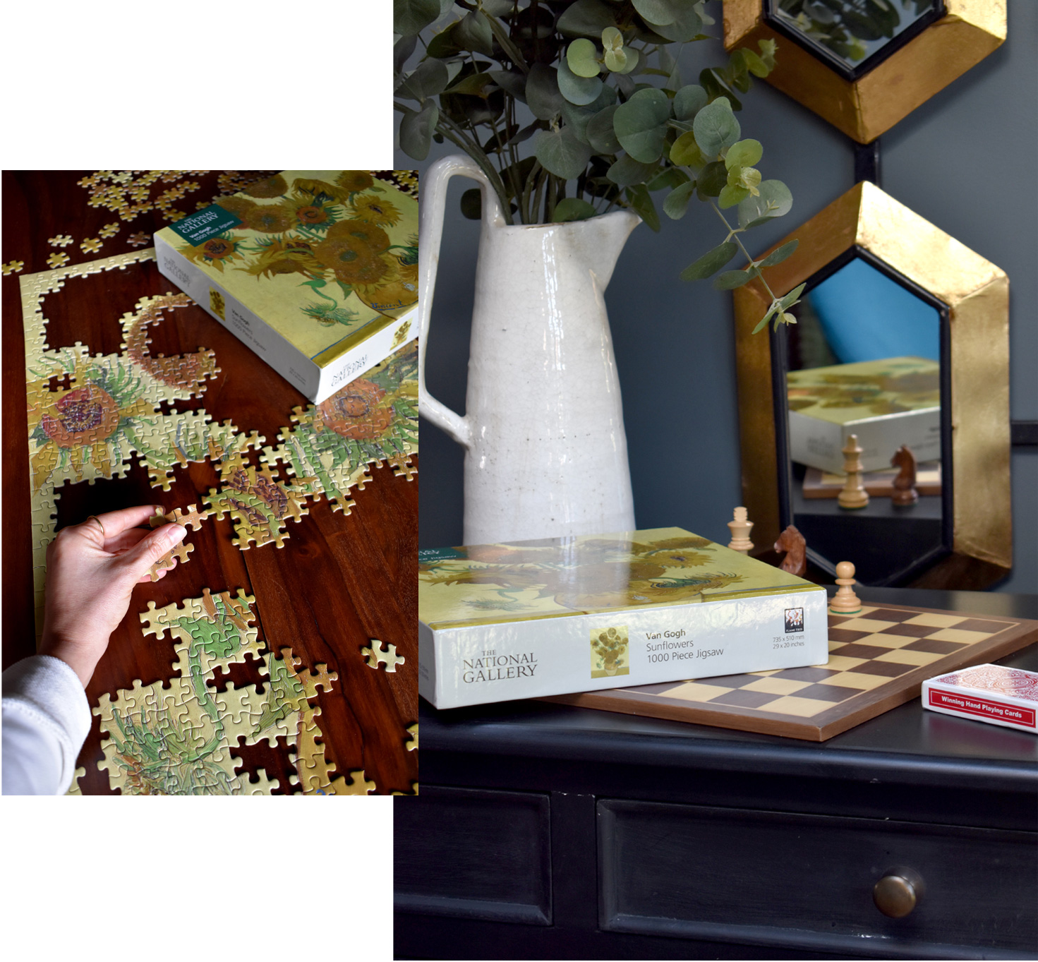 On the left, Jen works to complete her jigsaw. On the right is  an interior shot of Jen's home.