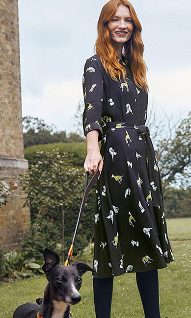Navy Shirt Dress With Dog Outfit