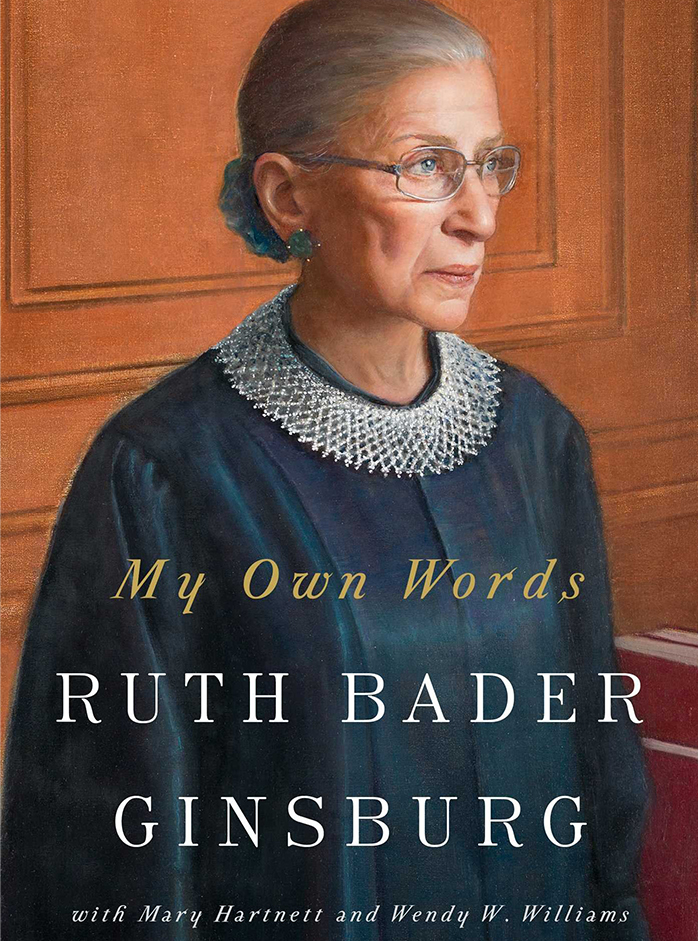 Image of Supreme Court icon, Ruth Bader Ginsberg on the front cover of her memoir, in my own words.