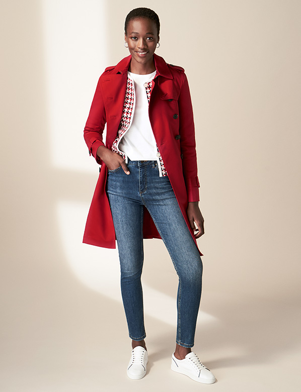 Petite Red Saskia Trench Coat
