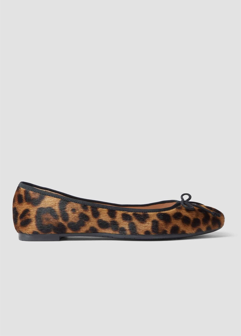 Hobbs ballerina flat with a leopard print.