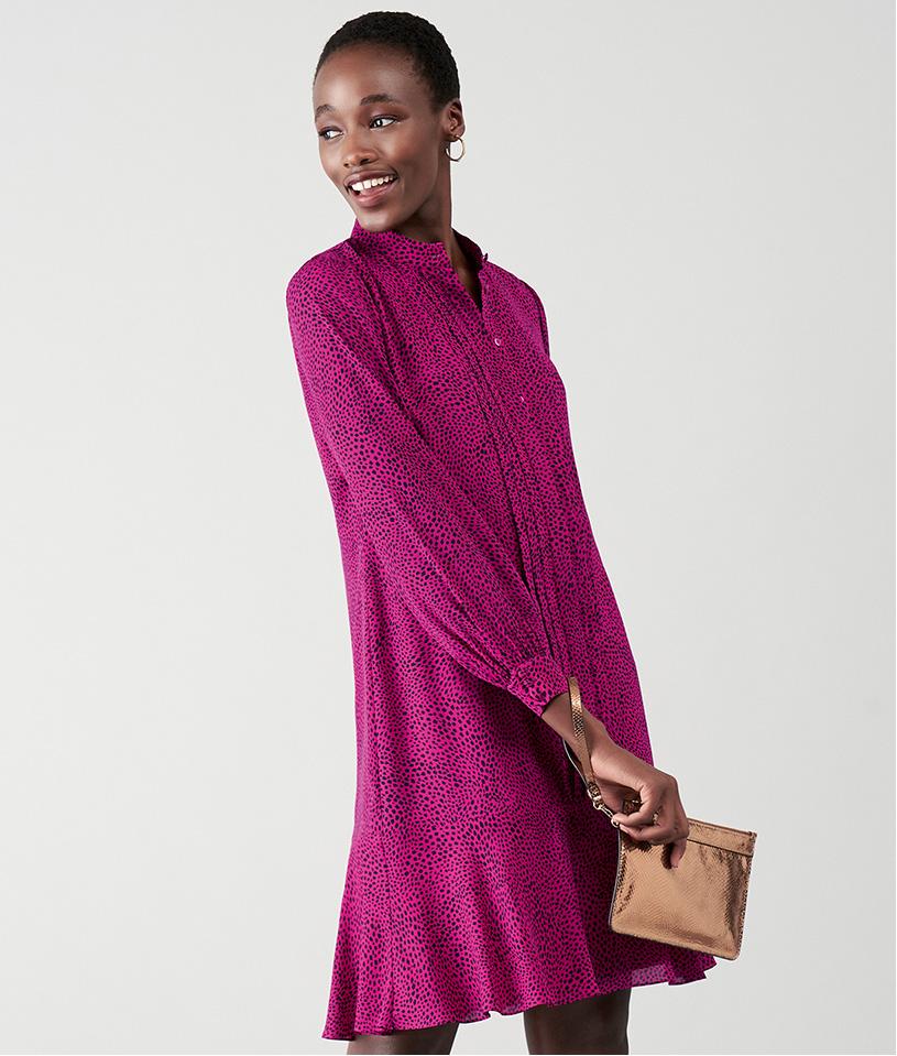 Bright Pink Vibrant Shirt Dress