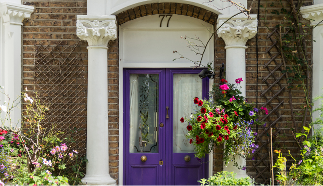 A purple london front door
