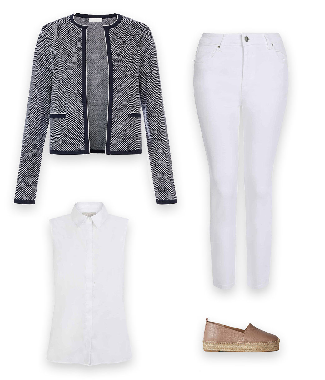 A chic cardigan outfit with a navy blue cardigan, sleeveless white shirt, white jeans and flat espadrilles