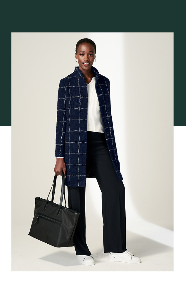 Navy Wool Blend Coat