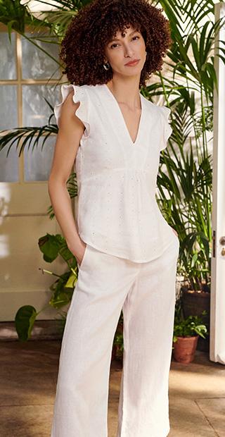 White Linen Sleeveless Top