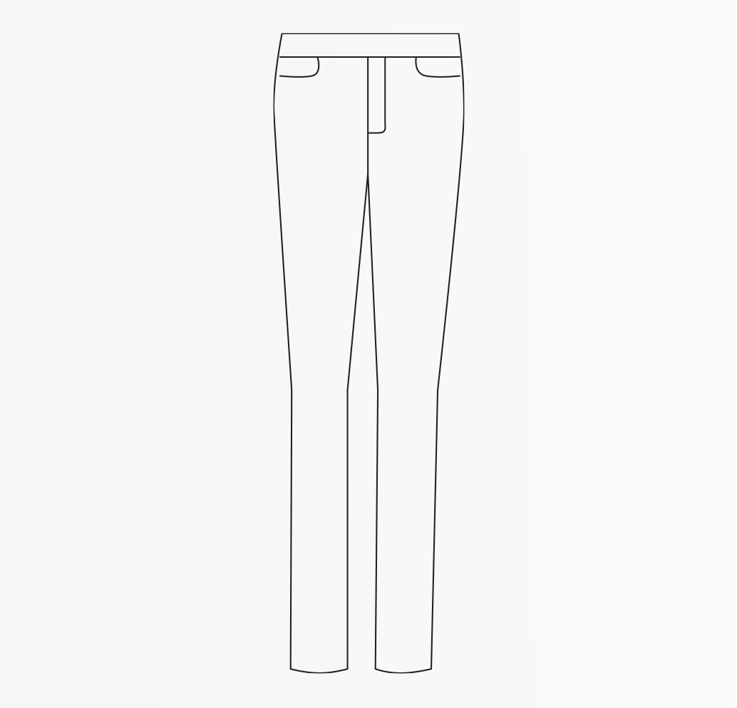 Drawing of skinny fit Women's trousers.