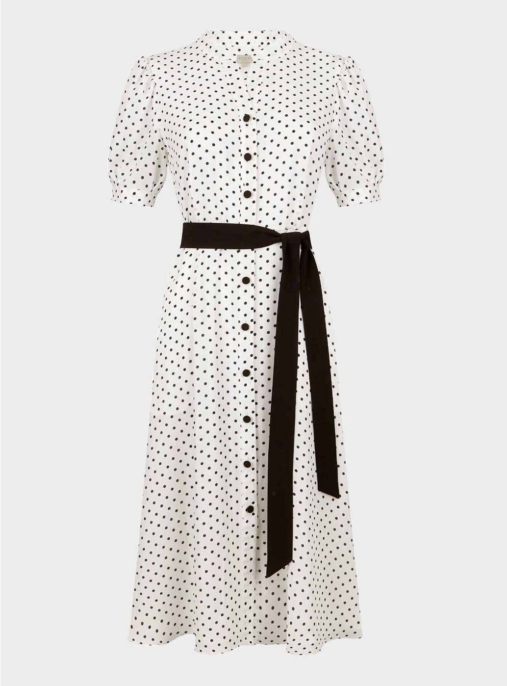 Hobbs Eliza Crepe White and Black Spot Shirt Dress