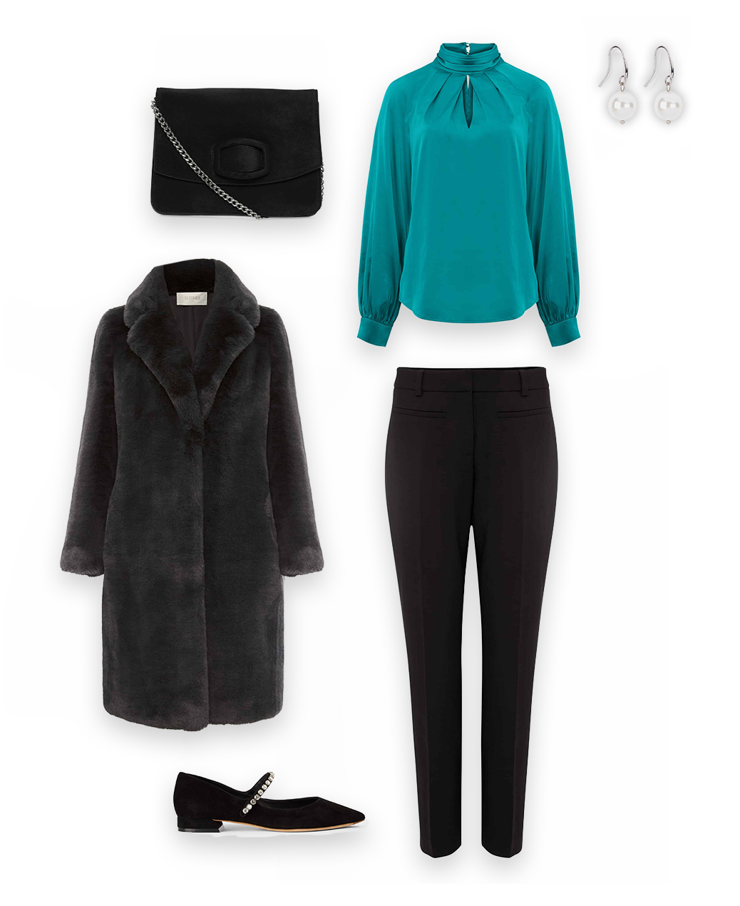 Collage of a green satin blouse, grey faux fur coat, black trousers, black embellished shoes, pearl drop earrings and a black clutch bag that together create an outfit.