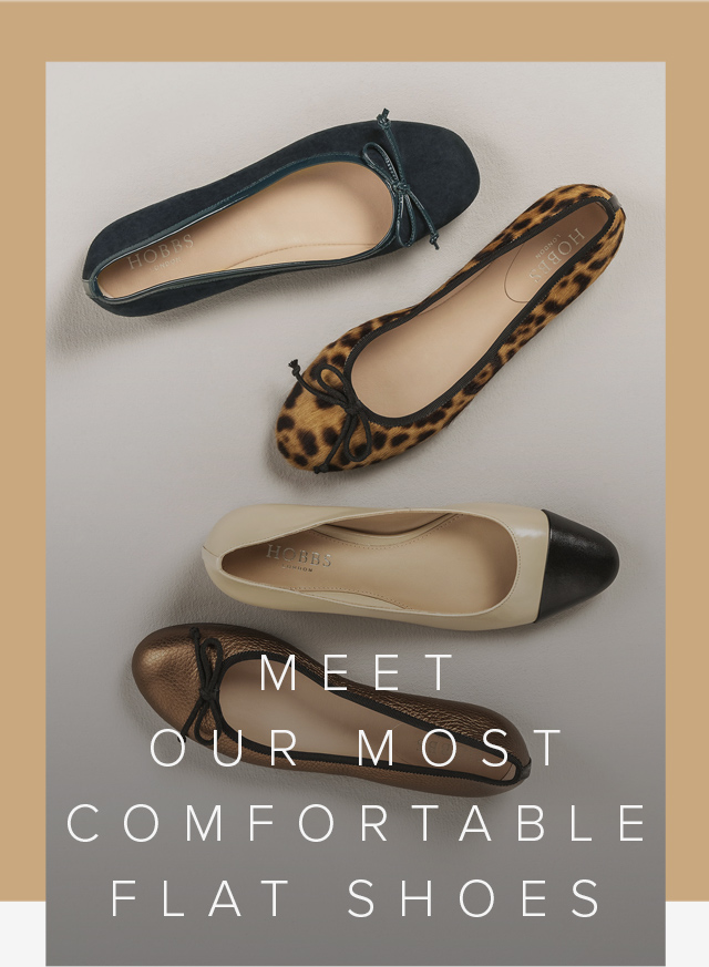 Hobbs selection of ballerina flat shoes for women, from top to bottom: Navy, leopard print, nude with black toe cap, metallic brown.