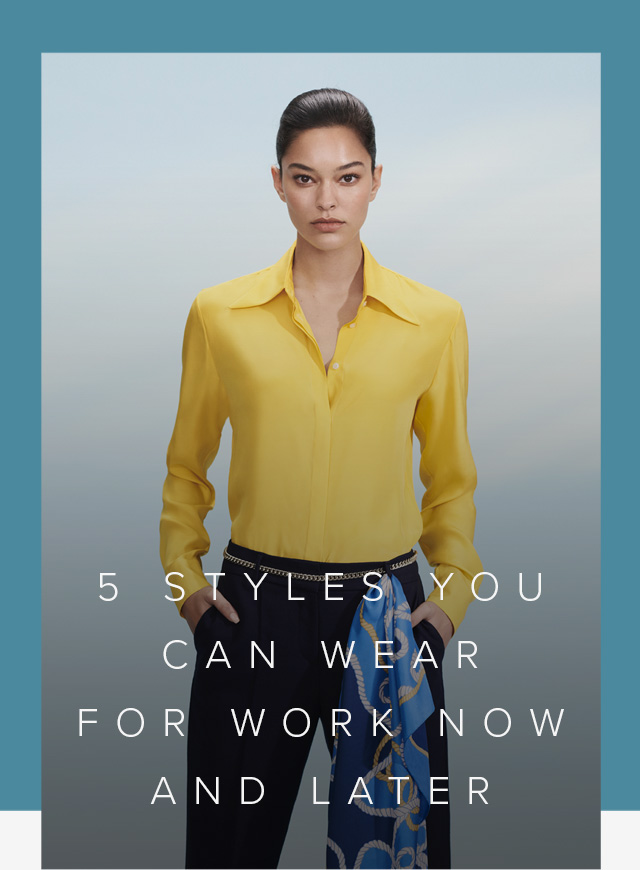 Yellow long-sleeved shirt paired with black work trousers, contrasted by a blue silk scarf draping on the waist, a stylish women's workwear outfit by Hobbs.