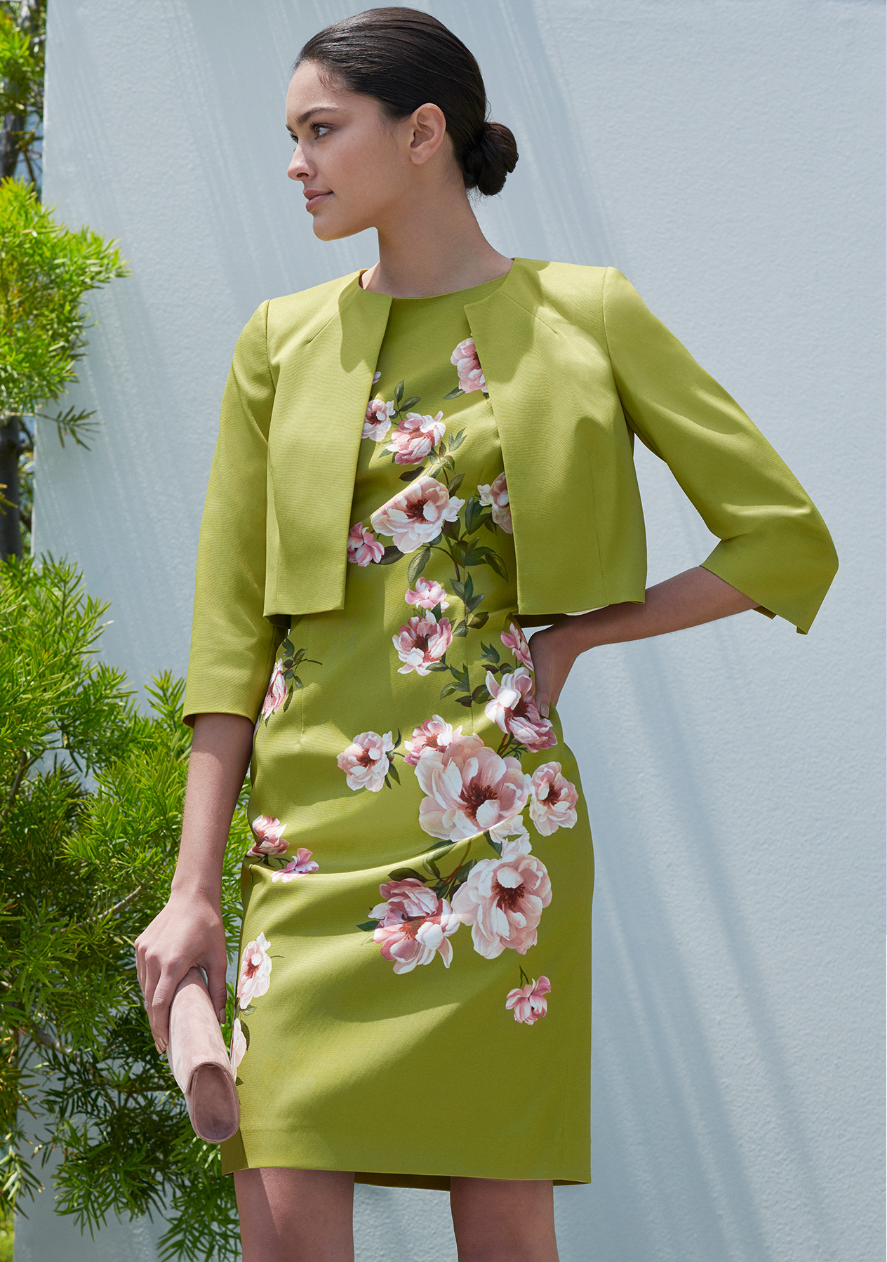 Floral print occasion dress in green with a matching jacket by Hobbs for weddings and all occasions, ideal for a mother of the bride outfit.