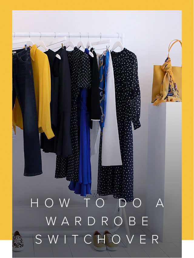 As the seasons change so does your wardrobe, a whiet clothes rail with a varity of navy blue, yellow and white clothes.