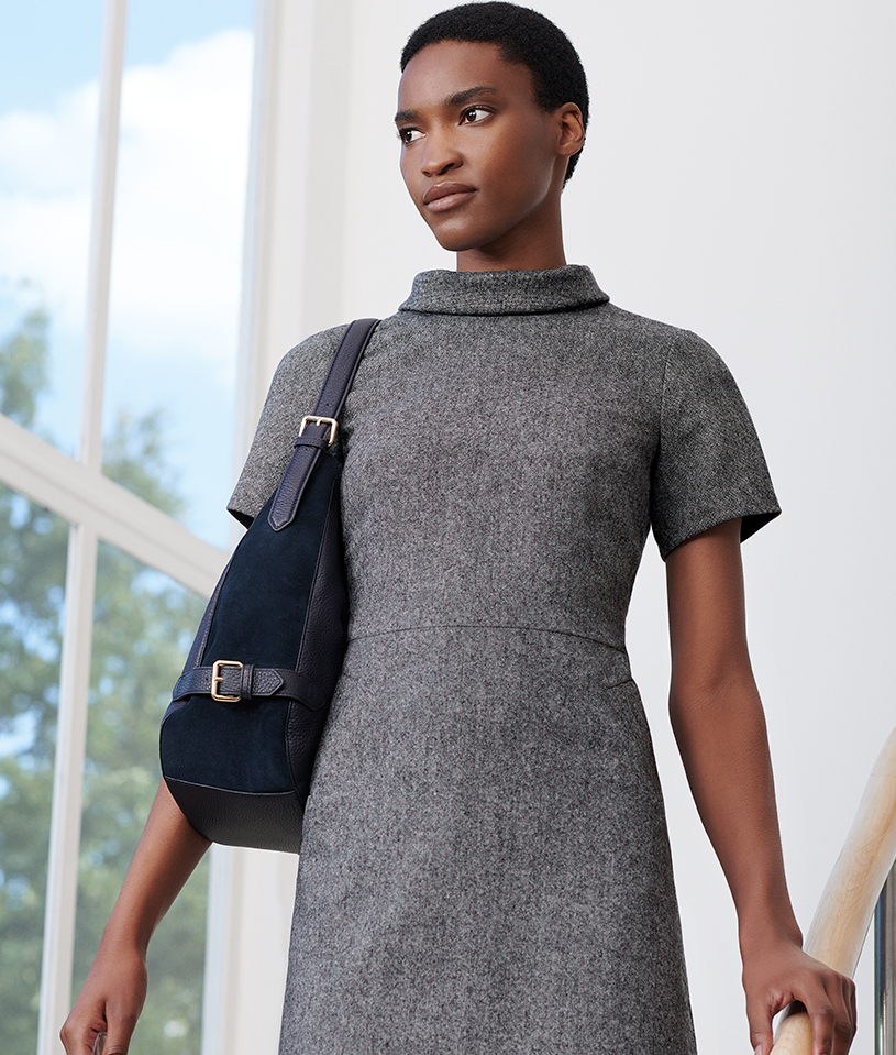 Grey Tailored Short Sleeves Dress
