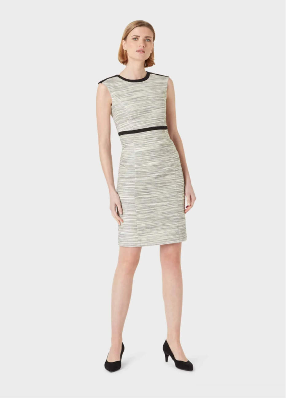 Fitted shift dress paired with black court shoes by Hobbs.