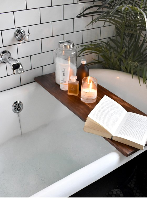 Relaxing at home with a bath, a book..