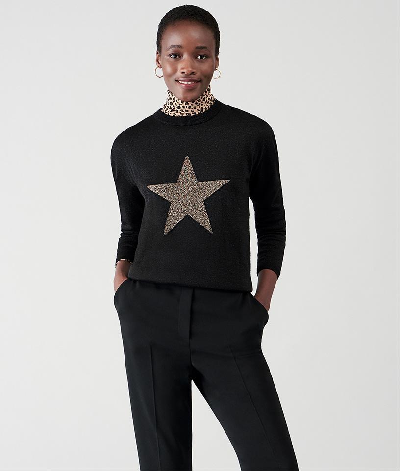 Star Print Knitted Jumper